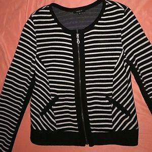 Perfect- Drew black & cream zip up sweater, sz M